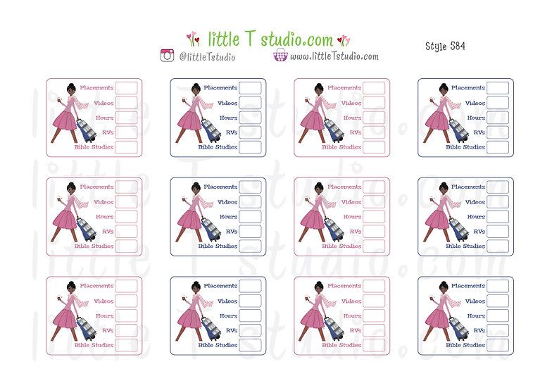 Field Service Tracker Stickers - Best Life Cart Witnessing Girl - Style 584