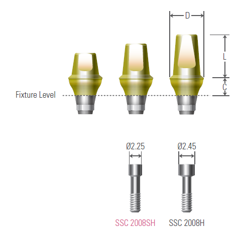 Cemented Abutment UFII Regular,Wide , Hex Non-Hex