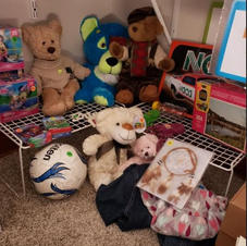 Stuffed animals and toys looking for a friend.