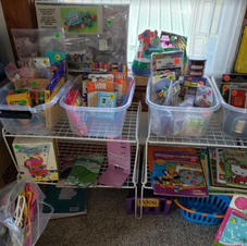 Kids Korner (and some adults) with toys, books and coloring books and more!