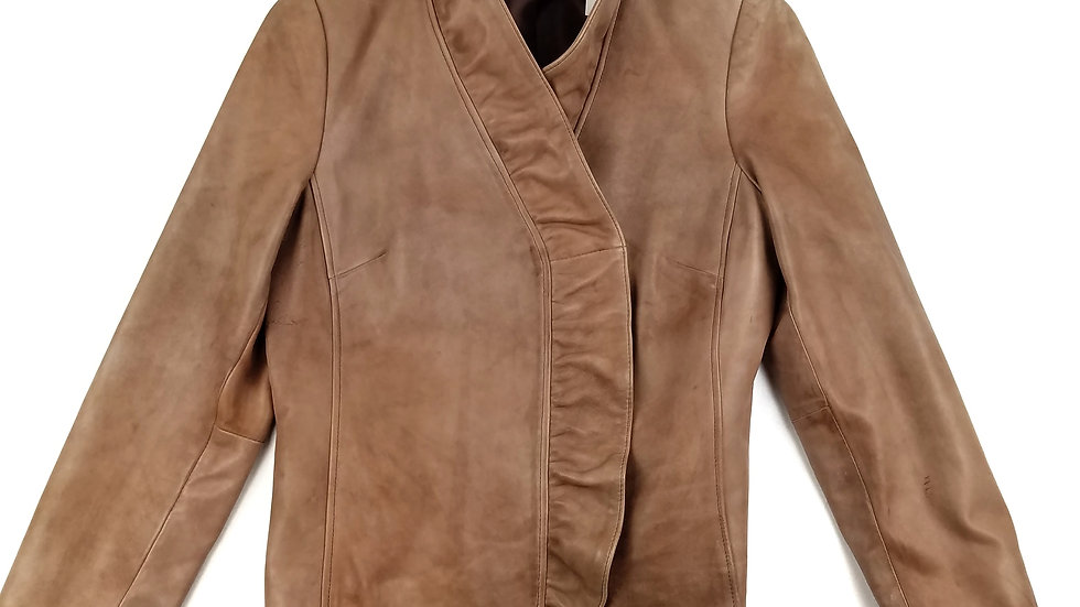 INC brown leather jacket size large