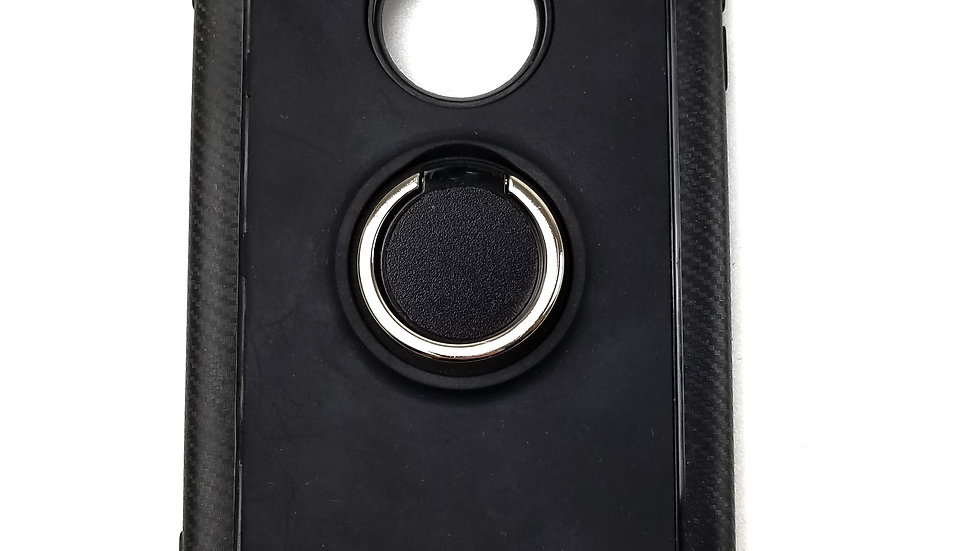 Phone case black with silver ring holder