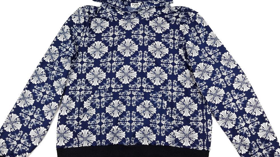 Nisha Fashion blue pattern hoodie size large