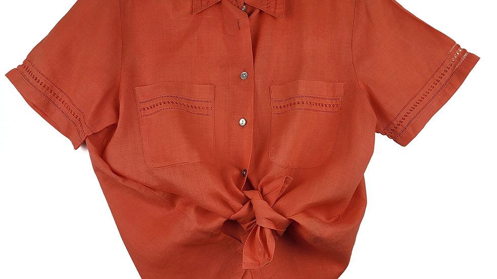 Mark Fore & Strike orange linen blouse size 4