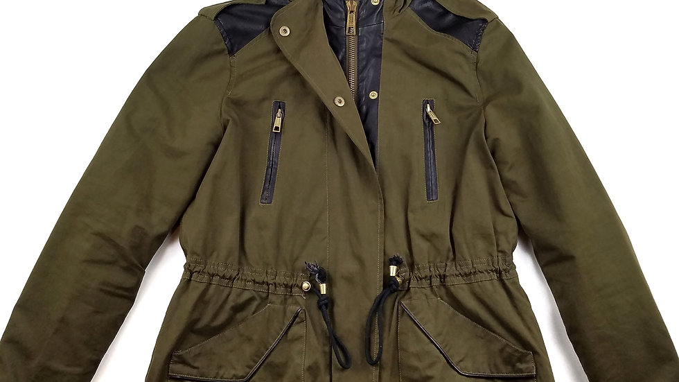 Zara green jacket with faux leather trim size small