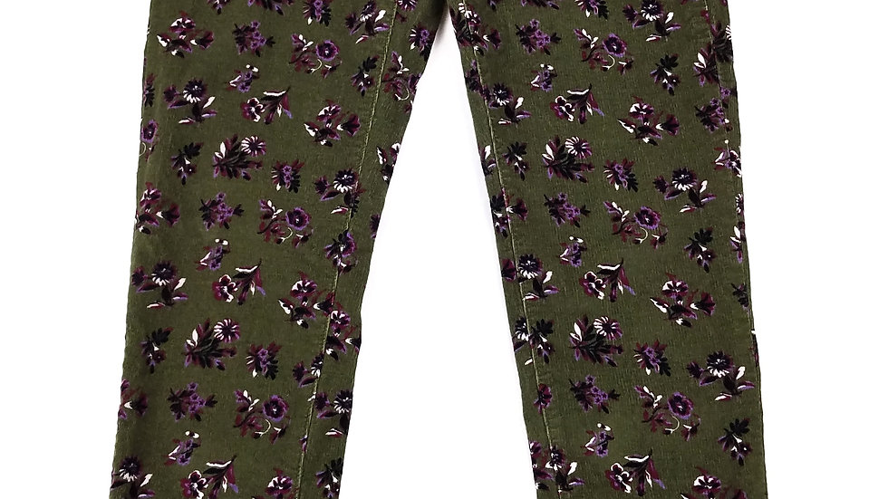 Joe Fresh green corduroy pants with purple flowers size 30