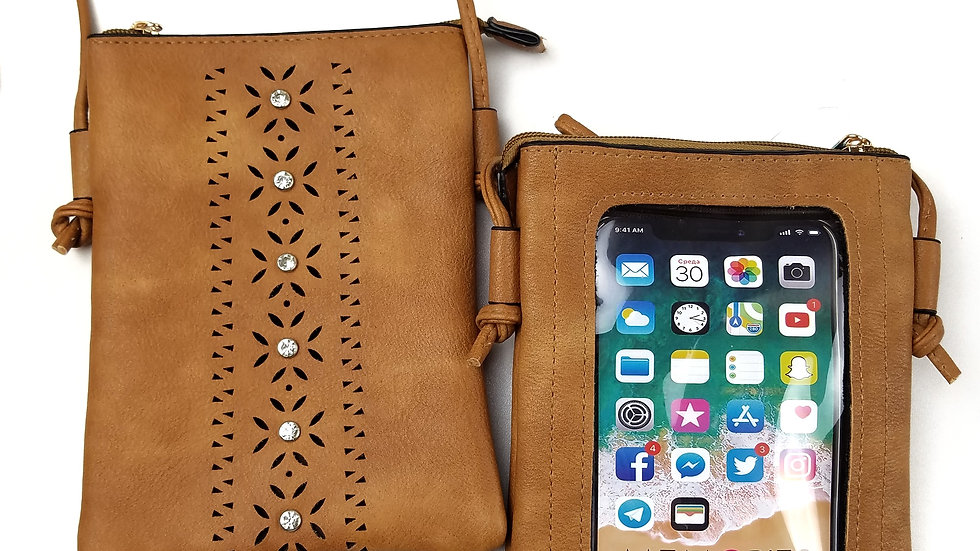 Crossbody brown with cell phone holder touch screen