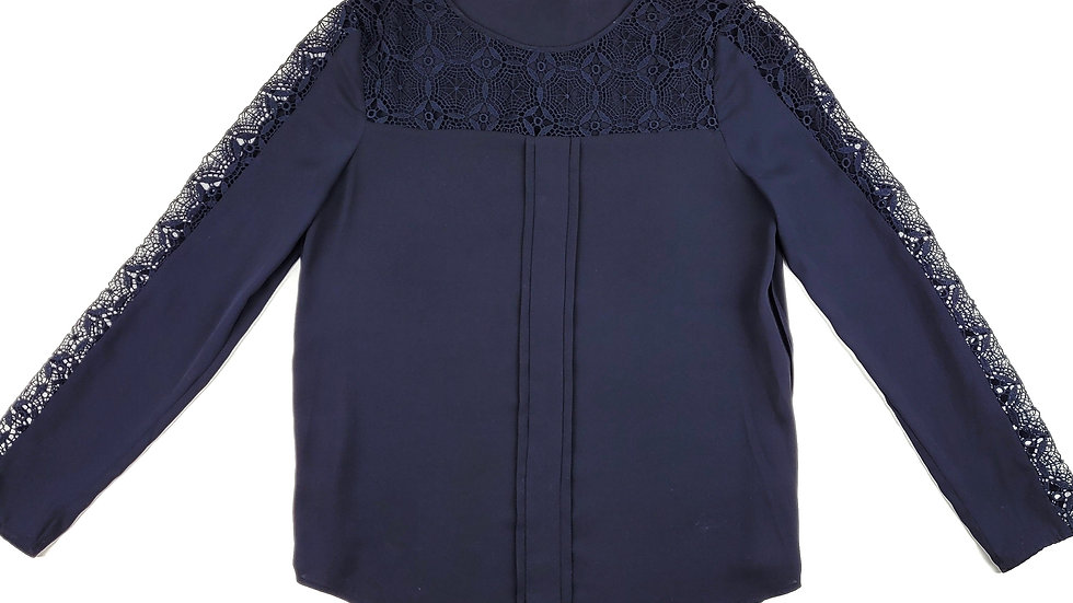 Zara navy blouse with lace trim size small
