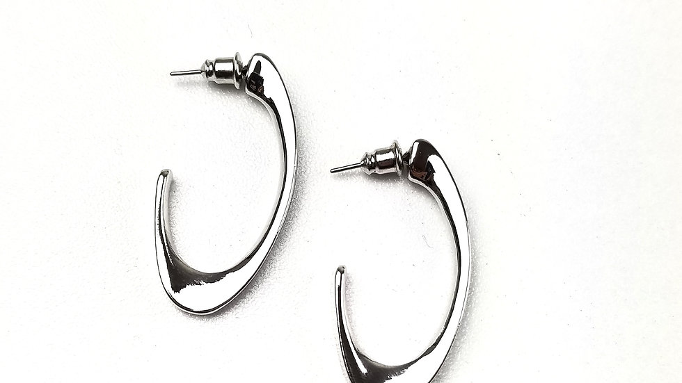 Silver thick oval hoop earrings