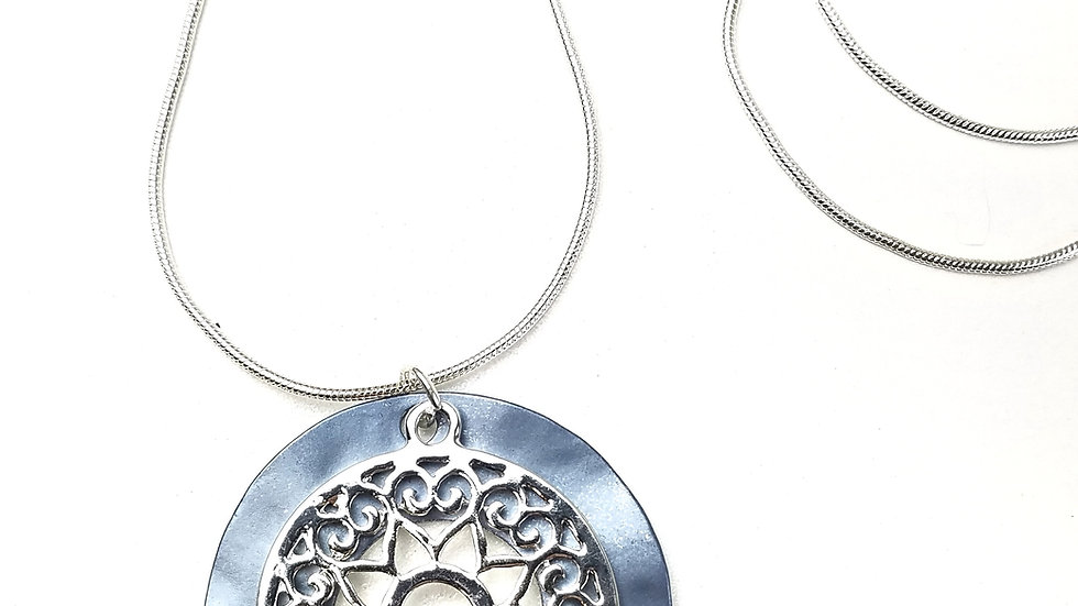 Silver long necklace with blue and silver pendant