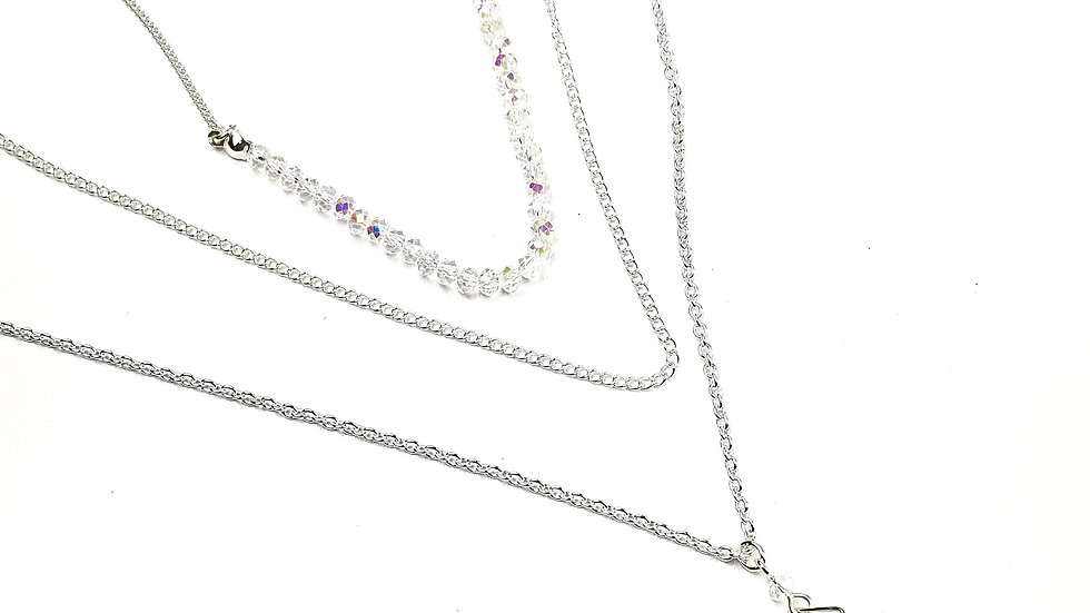 Multi layer with iridescent stones necklace and earrings