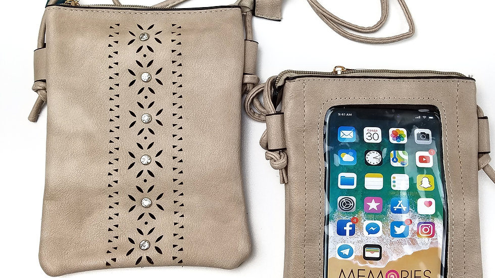 Crossbody taupe with cell phone touch screen