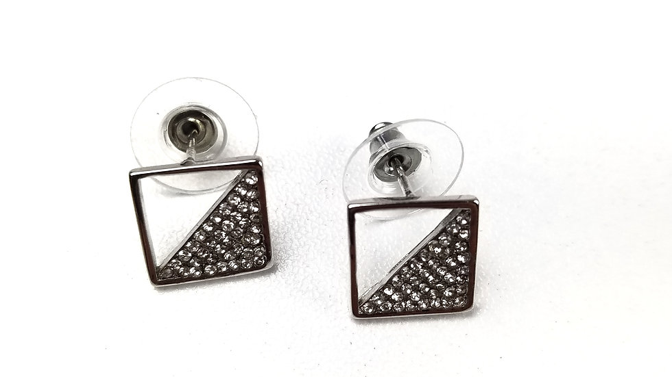 Earrings square with rhinestones