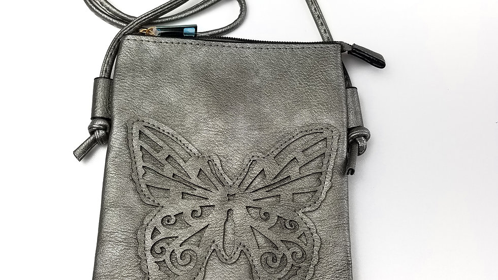 Crossbody silver with butterfly and cell phone pocket