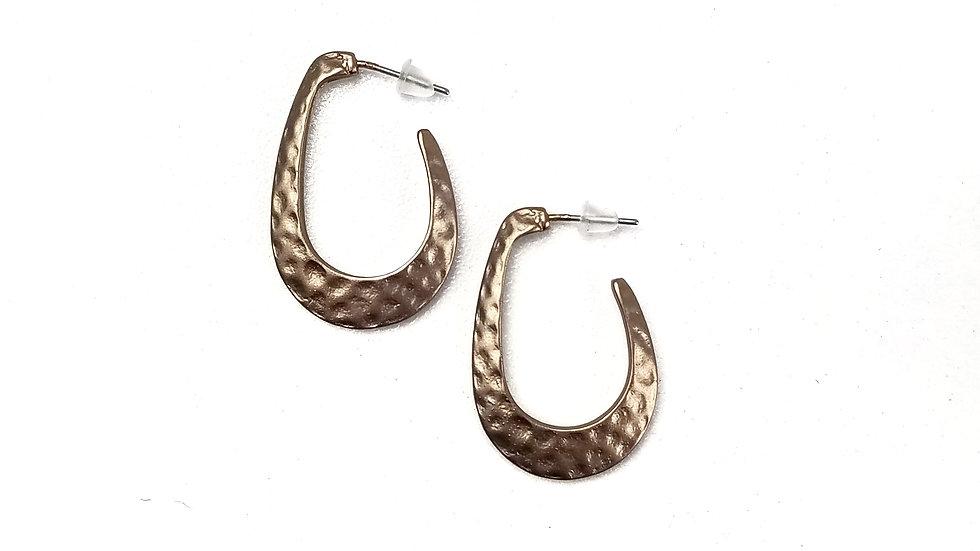 Hammered metal brown/bronze earrings