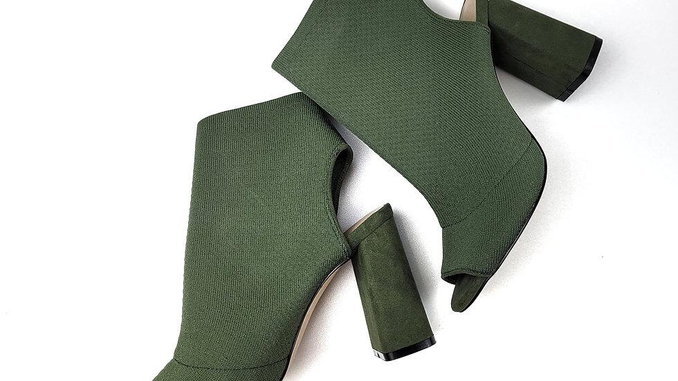 Aldo green fabric peep toe heels size 6.5