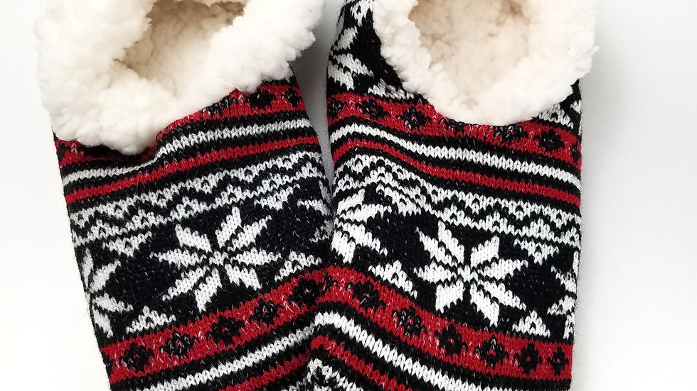 Slippers black/red with snowflakes (new)