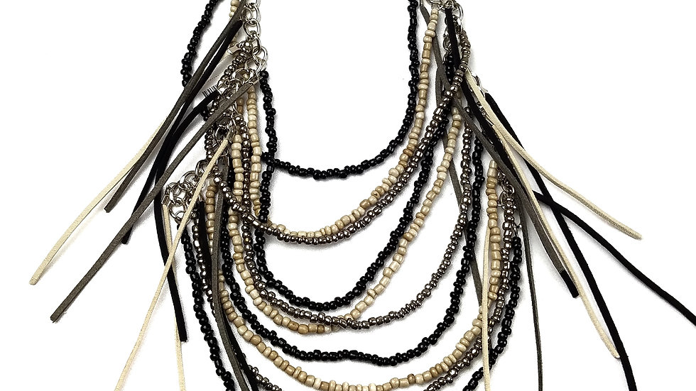 Bead and suede multi layer necklace