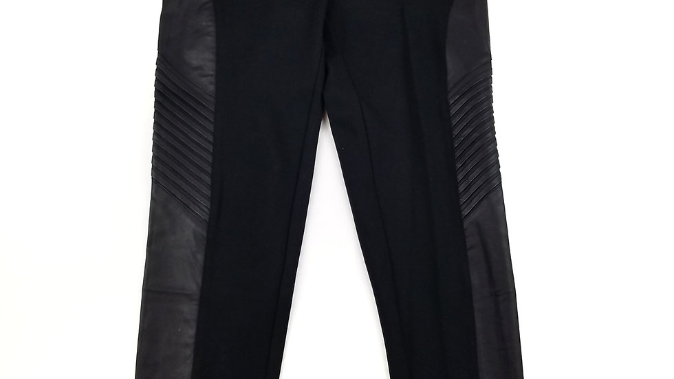 North Republic black pant with faux leather detail size large