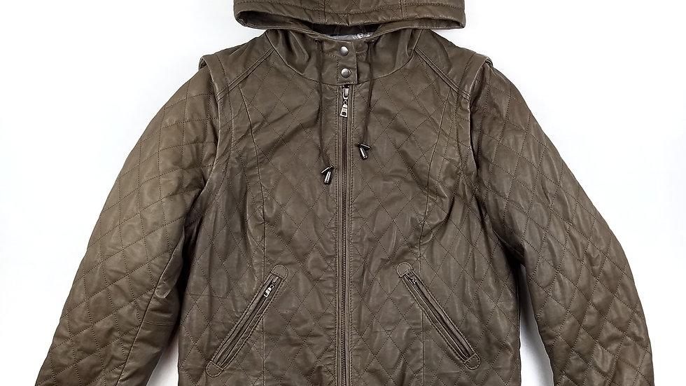 Danier brown hooded leather jacket size medium