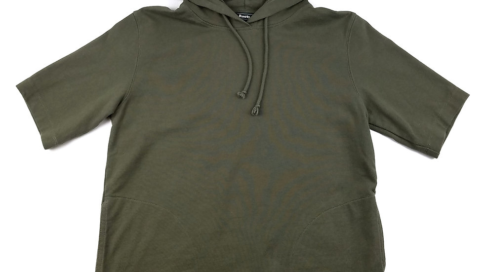 Roots green hoodie short sleeve size xsmall