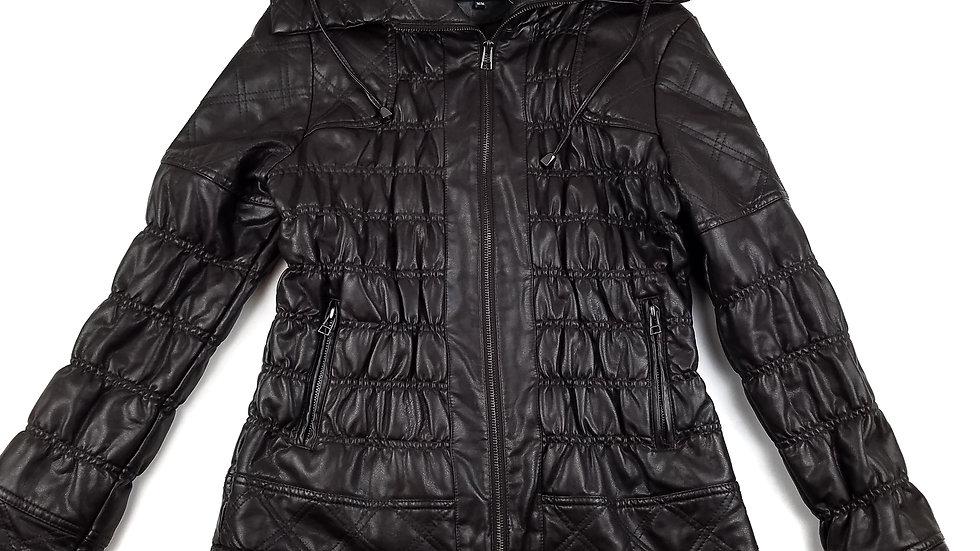 Jeanne Beker brown faux leather jacket size medium