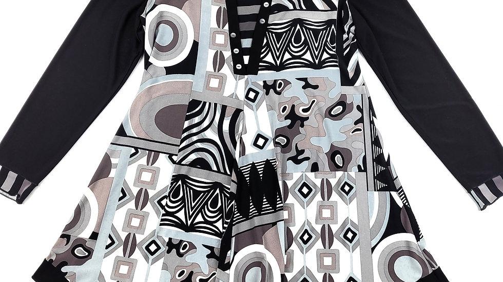 Bali black/grey/white pattern tunic size large
