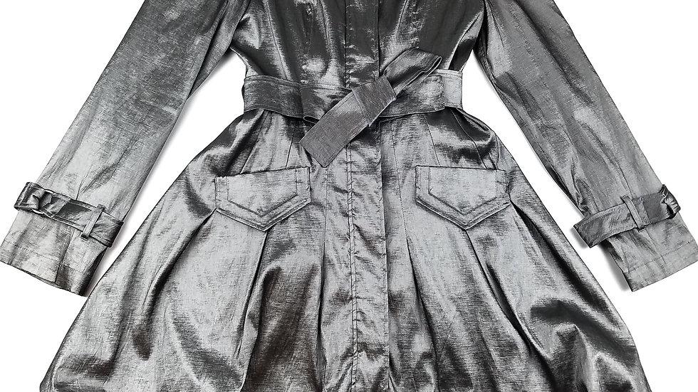 Gilani silver dress coat size 8
