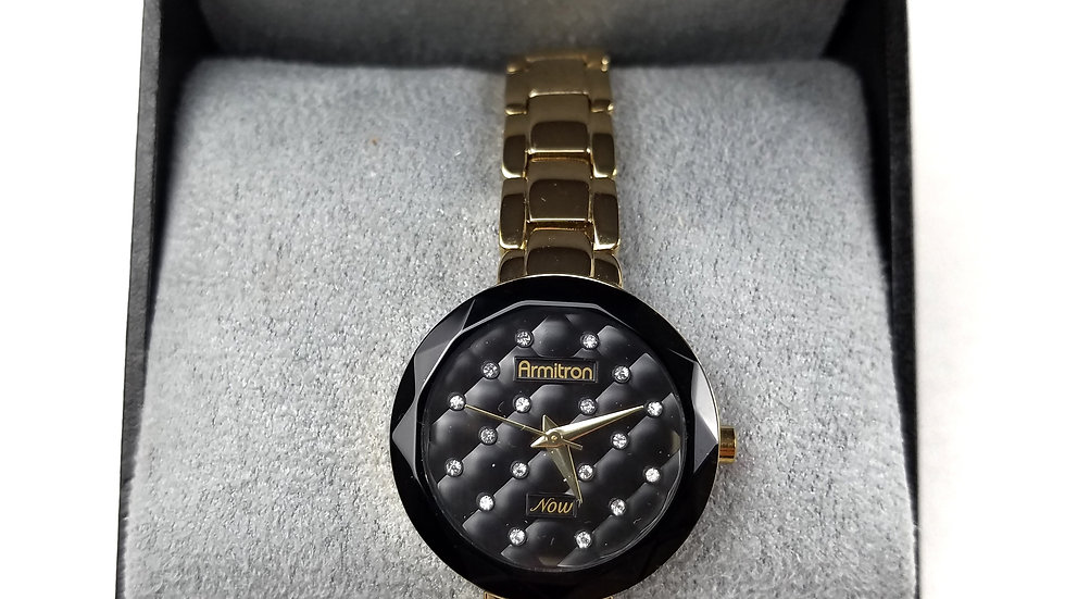 Armitron God watch with black face with crystals