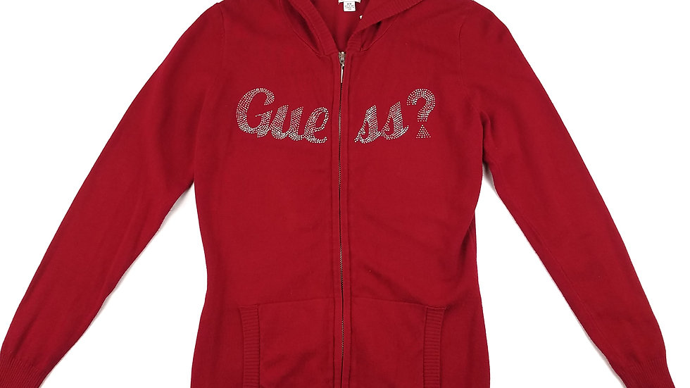 Guess red zip hoodie sweater size medium