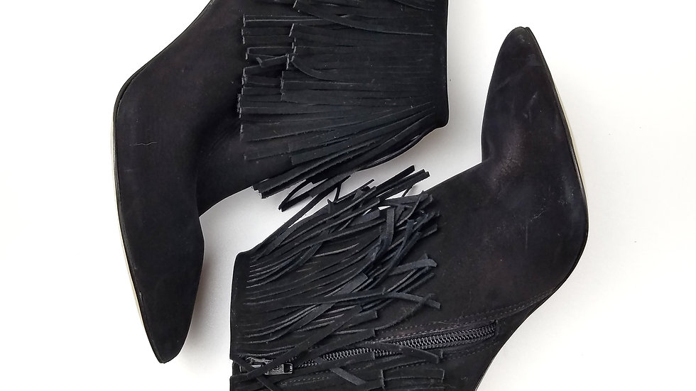 Brian Atwood black suede fringe ankle boots size 7.5