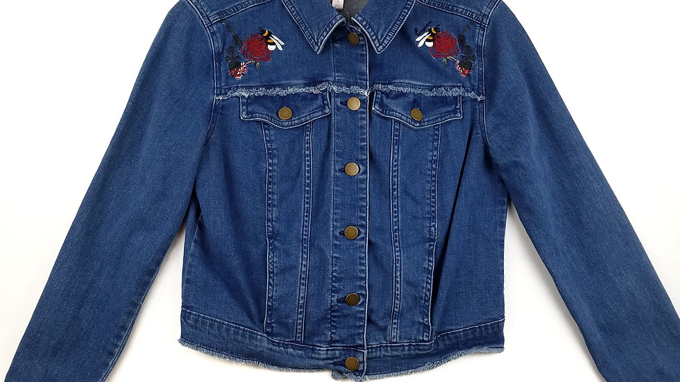 Lauren Conrad embroidered denim jacket size small
