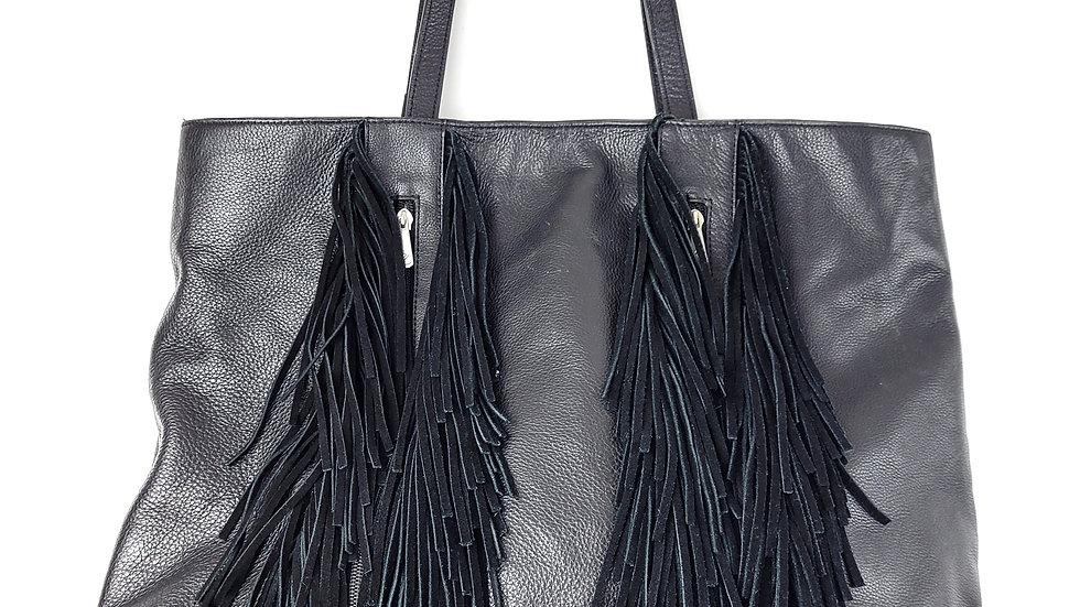 Black leather fringe handbag