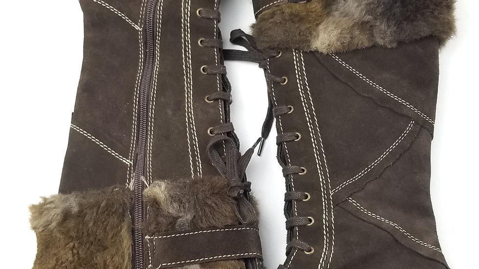 Bos brown wedge heel boot size 5 (36)