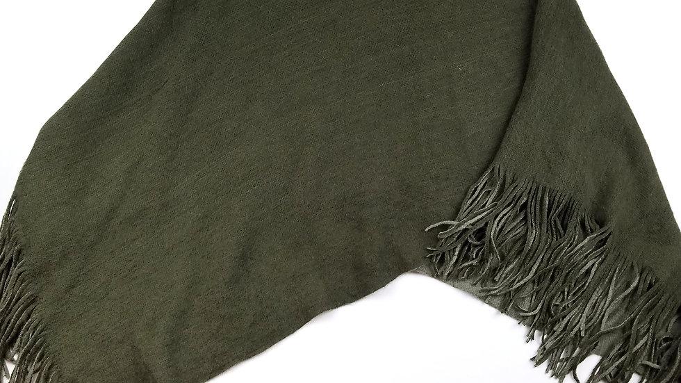 Poncho green with  fringe trim OS