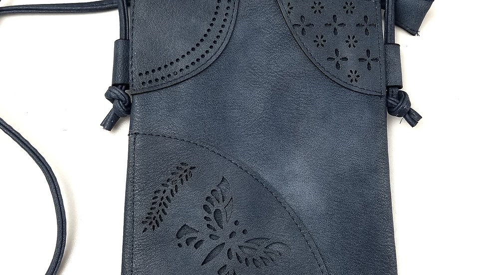 Crossbody blue with butterfly with cell phone pocket