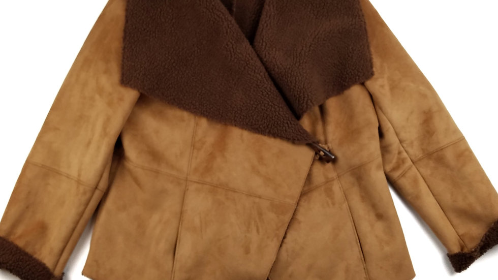 Alfred Sung brown faux suede jacket size large