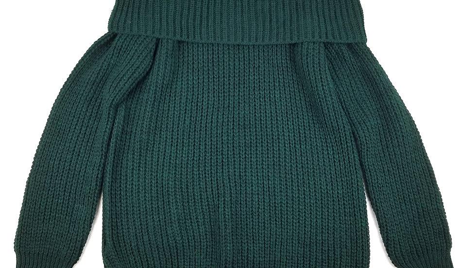 Angela Mara green knit off shoulder size small