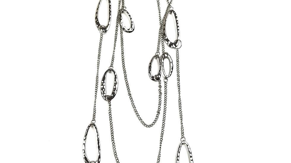 Multi strand silver necklace