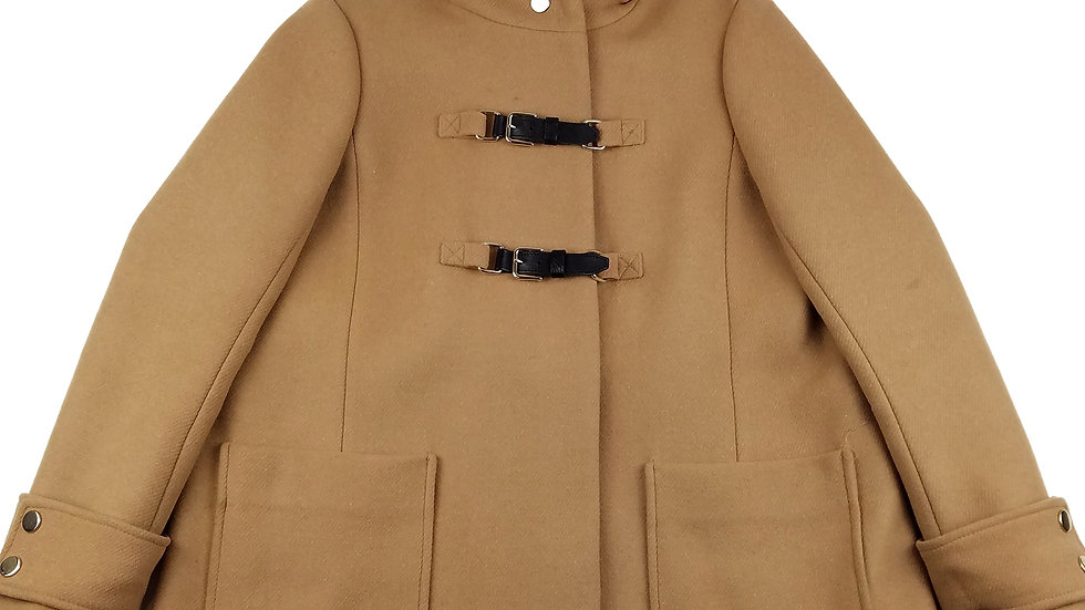 Maje camel hooded coat size small