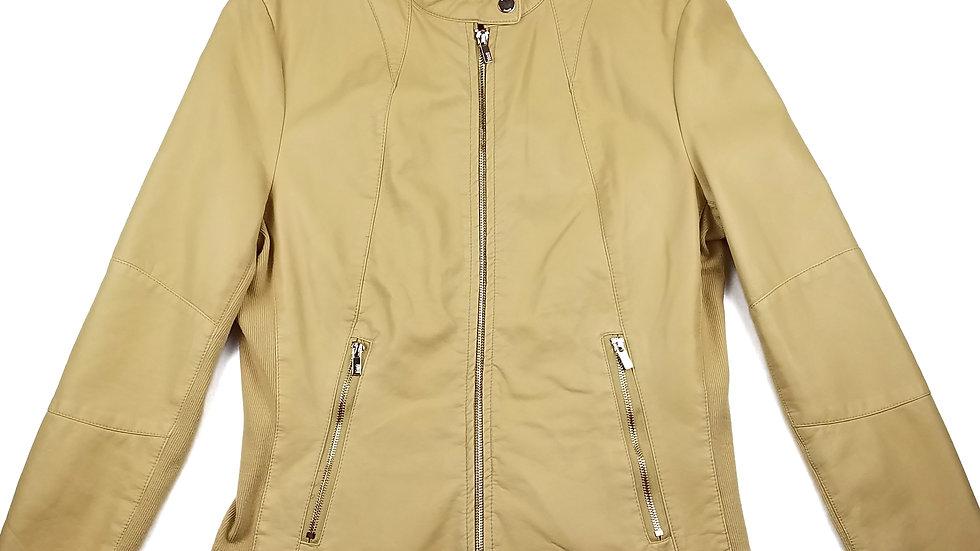 Black Rivey yellow faux leather jacket size medium