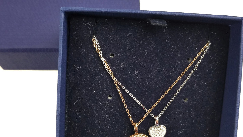 Swarovski silver/gold heart necklace