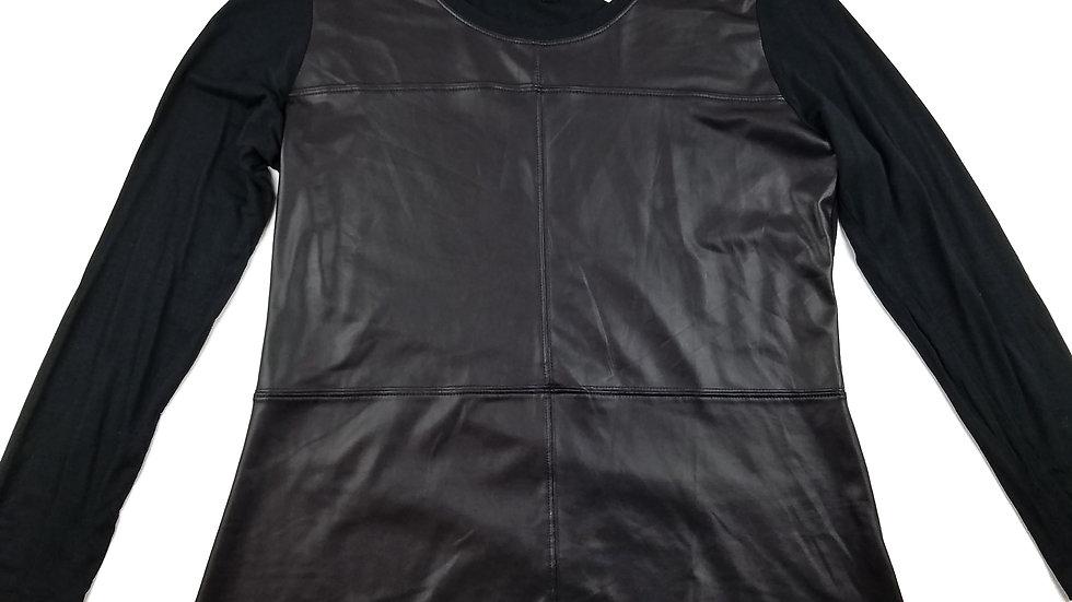 DKR co black faux leather top size large