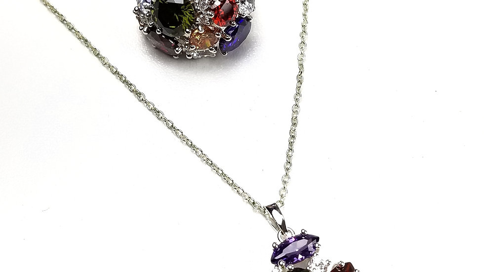 Multi colour stones necklace and ring set