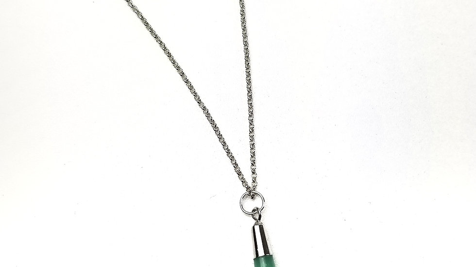 Necklace with long green pendant