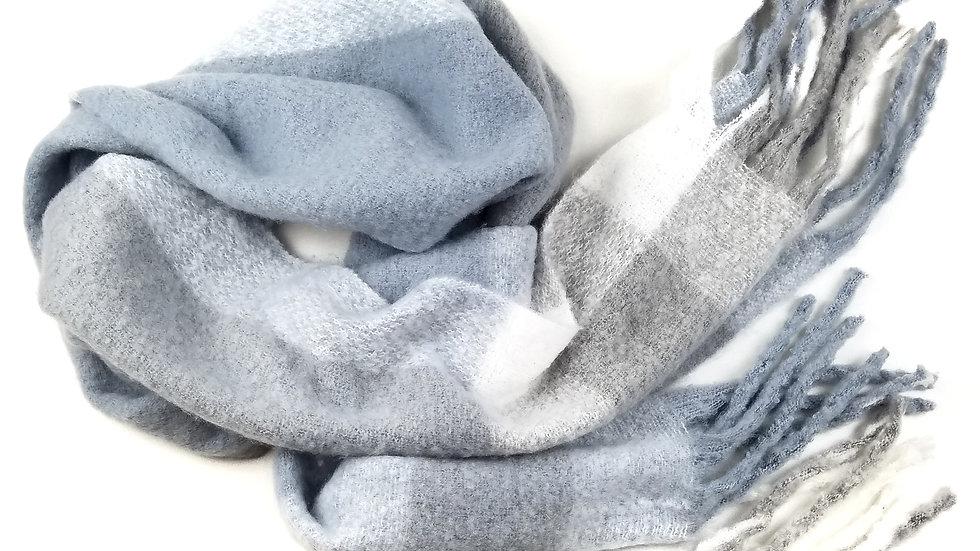 Scarf grey/light blue/white