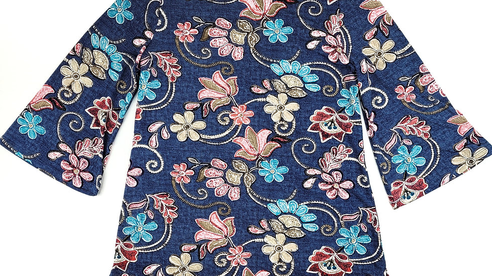 Alia denim look with floral pattern top size small