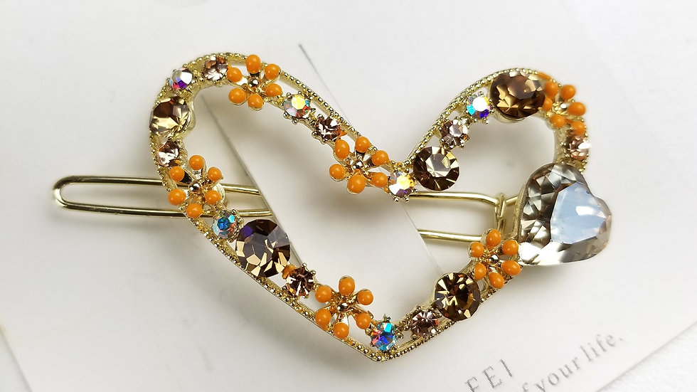 Fashion hair accessory gold with orange flowers
