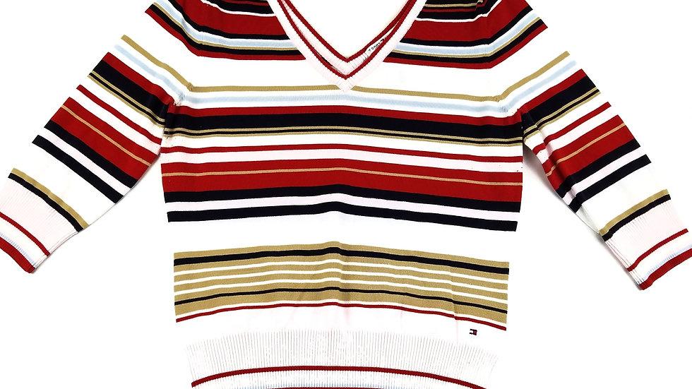 Tommy Hilfiger vee neck striped sweater size large
