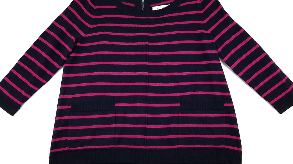 Max Studio pink/navy stripped sweater with zipper back size medium